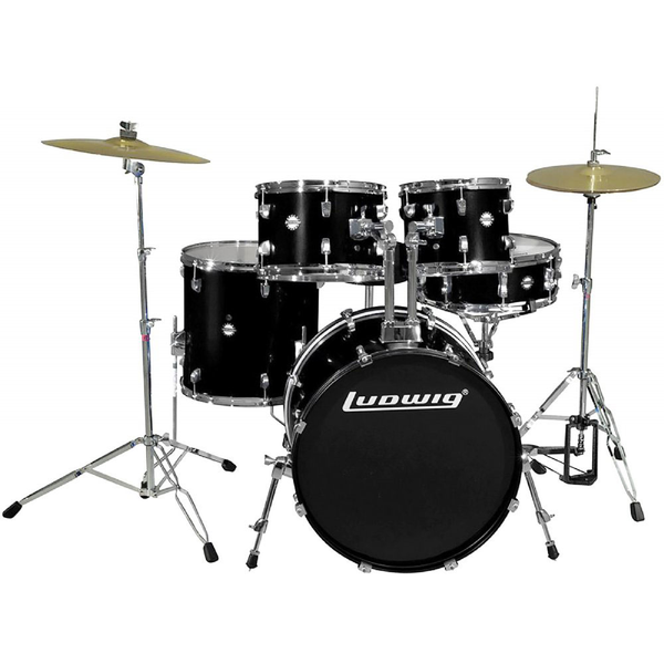 Ludwig LC1701 Accent Fuse 5 Piece Complete Drum Kit - Black - Bananas at Large