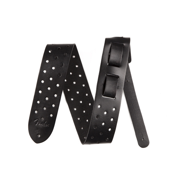 Fender 2.5 in. Leather Fender Punched Hole Strap, Black - Bananas At Large®
