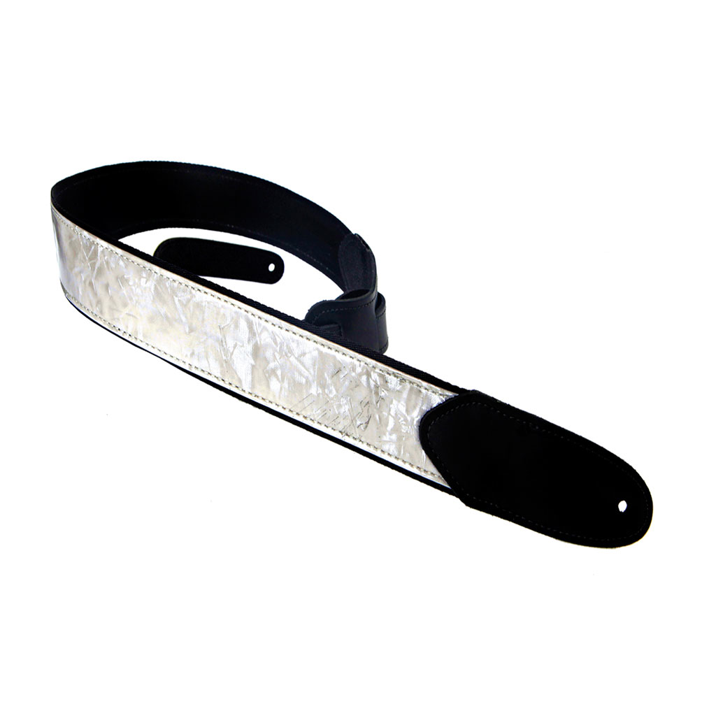 Henry Heller HMOD2-01 2 in. White Mother of Pearl Guitar Strap with Black Leather Ends - Bananas At Large®