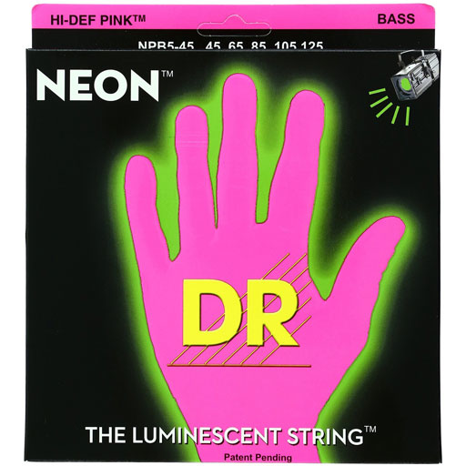 Dr Strings NPB5-45 NEON Hi-Def Pink Bass 5-String Medium - Bananas At Large®