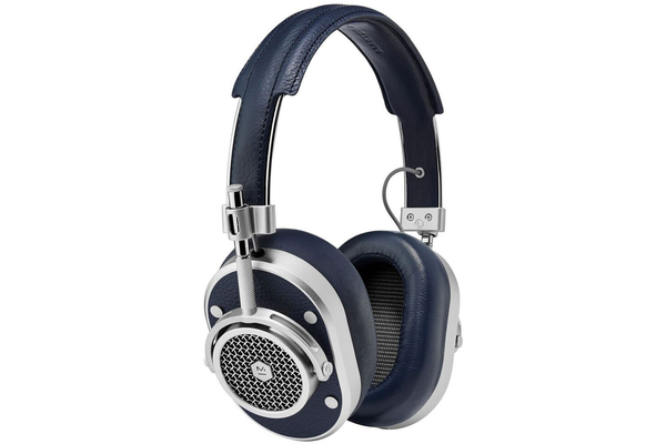 Master & Dynamic MH40S4 Over Ear Headphones - Silver Metal/Navy Leather