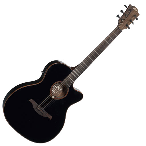 Lag Tramontane T100ASCEBLK Slim-line Auditorium Cutaway Electric, Black - Bananas at Large