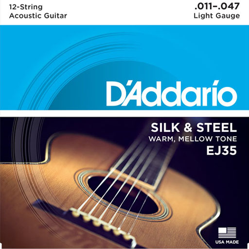 DAddario EJ35 Acoustic Silk And Steel 12-String Folk 11-47 - Bananas At Large®