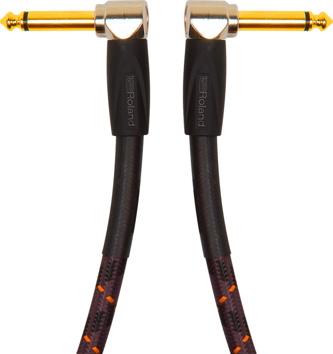 Roland RIC-G1AA Gold Series 1ft. Instrument Cable with Right Angle 1/4 in. Connectors. - Bananas at Large