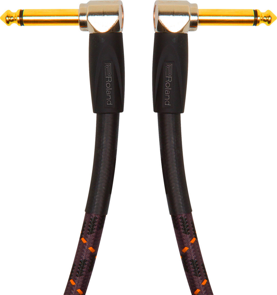 Roland RIC-G3AA Gold Series 3ft Instrument Cable with Angled to Angled 1/4 in. Jack - Bananas at Large