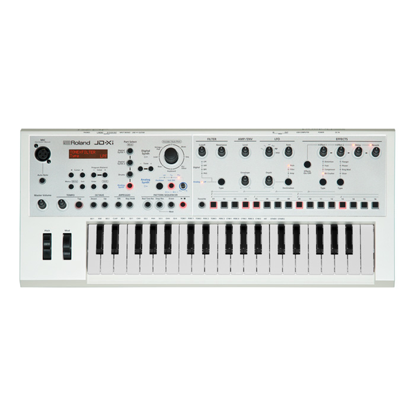 Roland JD-XI Interactive Analog-Digital Crossover Synthesizer - 34 Mini Keys - Limited Edition White - Bananas at Large - 1