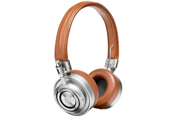 Master & Dynamic MH30 Foldable on Ear Headphones - Silver Metal and Brown Leather