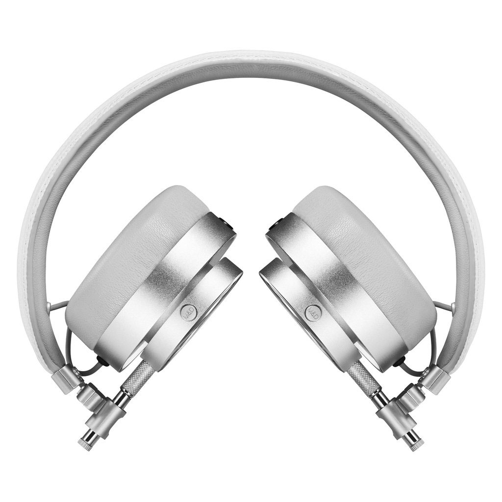 Master & Dynamic MH30 Foldable on Ear Headphones - Silver Metal and White Leather - Bananas at Large - 2