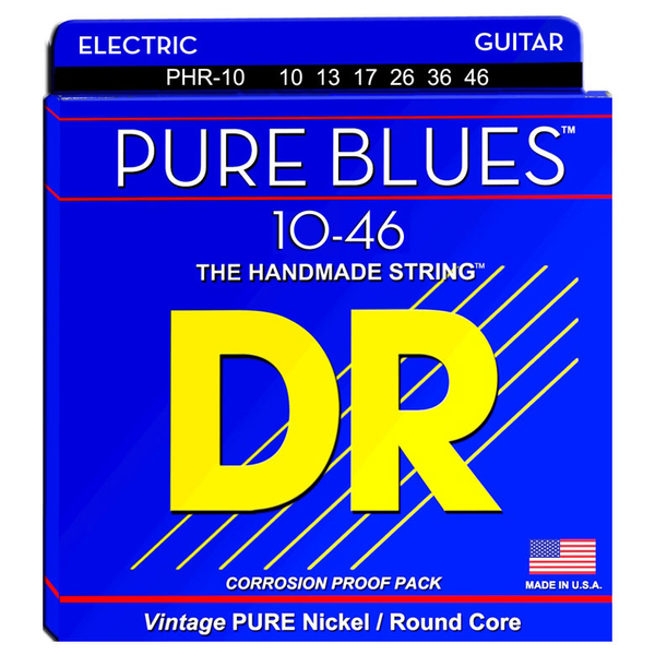 DR Strings PHR-10 Pure Blues Medium Pure Nickel Electric Strings 10-46 - Bananas At Large®