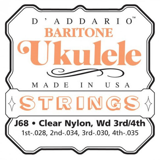 DAddario J68 Clear Nylon Baritone Ukulele Strings - Bananas At Large®
