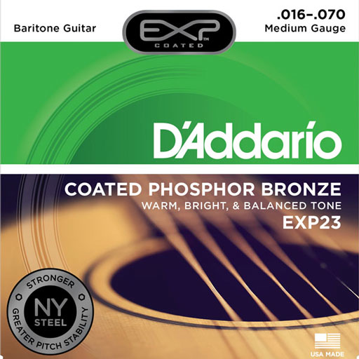 DAddario EXP23 Coated Phosphor Bronze Baritone Guitar Strings 16-70 - Bananas At Large®