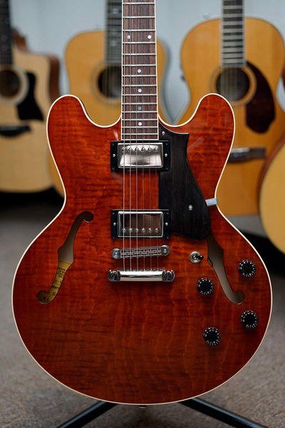 Heritage H-535 Semi-Hollow Guitar with Case - Burnt Amber - Bananas at Large - 1