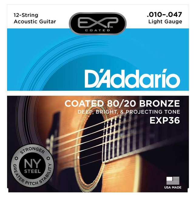 D'Addario EXP36 Coated 80/20 Bronze Light 12-String Acoustic Strings 10-47 - Bananas At Large®