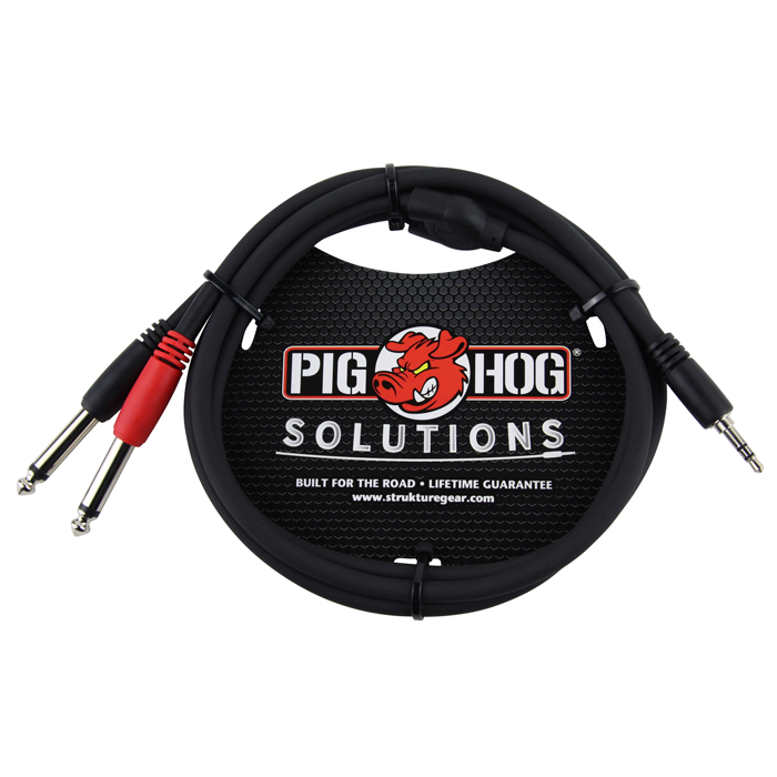 Pig Hog PB-S3403 Solutions 3ft Stereo Breakout Cable, 3.5mm to Dual 1/4 in. - Bananas at Large - 1