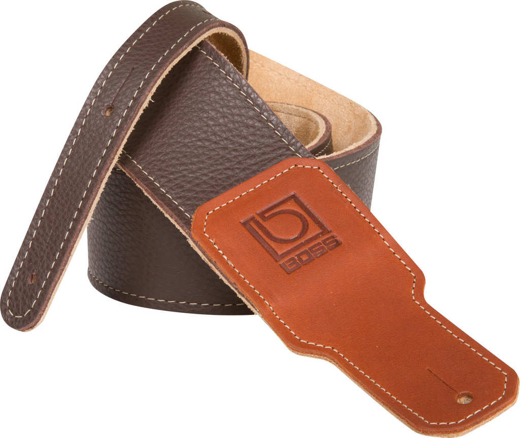 Boss BSL-30 3 in. Brown Premium Leather Guitar Strap - Bananas at Large