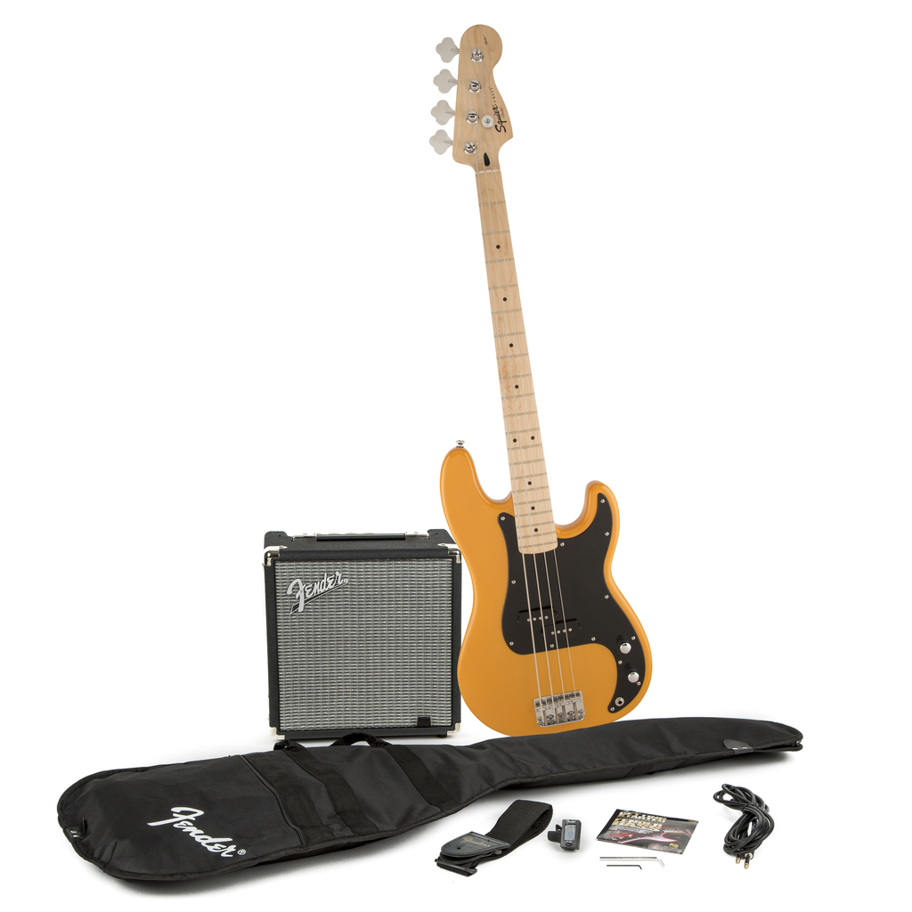 Squier Stop Dreaming Start Playing! Set: Affinity Series Precision Bass with Fender Rumble 15 Amp - Bananas at Large - 1
