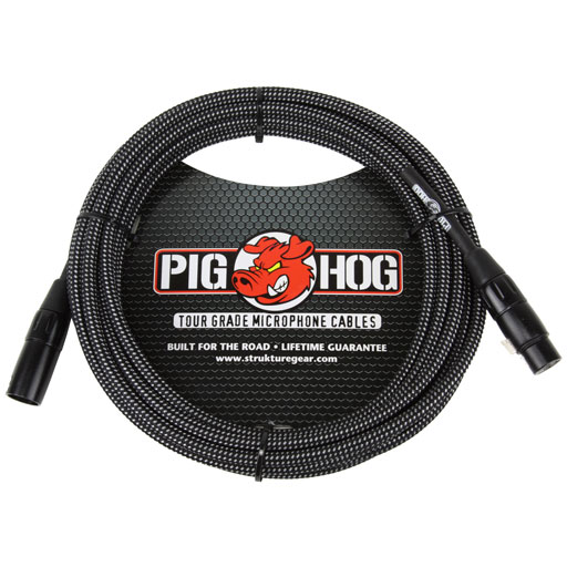 PigHog PHM20BKW Black and White Woven Mic Cable, 20ft XLR - Bananas at Large
