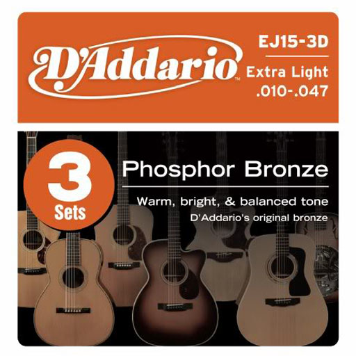 DAddario EJ15 3-Pack Phosphor Bronze Acoustic Guitar Strings Extra Light - Bananas At Large®