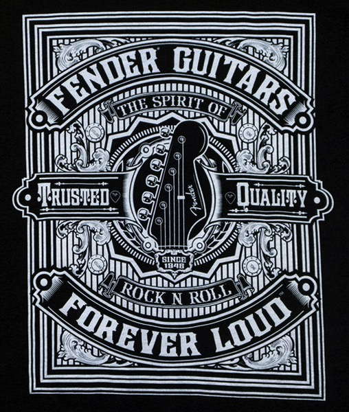 Fender Forever Loud Trusted Quality T-Shirt, Black, XL - Bananas At Large®