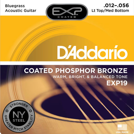 DAddario EXP19 Coated Phosphor Bronze Acoustic Strings - Light Top Medium Bottom Bluegrass 12-56 - Bananas At Large®