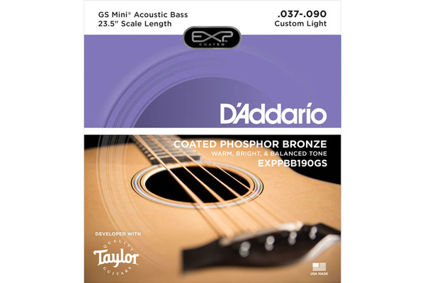 D'Addario EXPPBB190GS Phosphor Bronze Coated Taylor GS Mini Bass Guitar Strings Scale 37-90