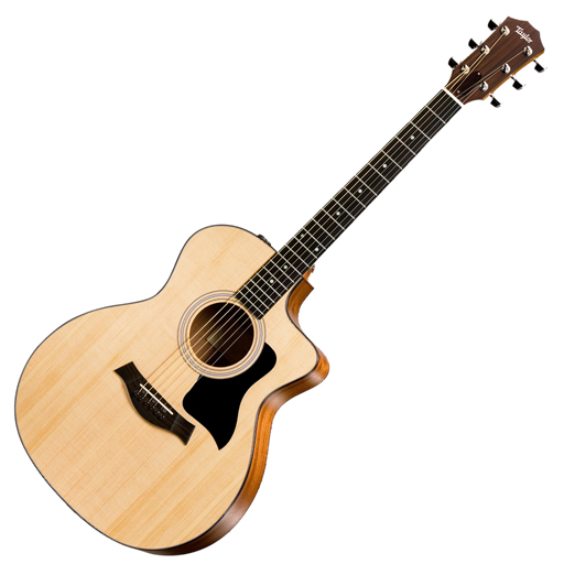 Taylor 114ce Acoustic Electric Grand Auditorium Cutaway Guitar with Gig Bag, ES2 - Bananas at Large