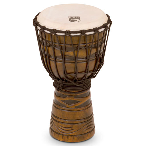 Toca Orgins Series Wood Rope Djembe 8 in. -  African Mask - Bananas at Large