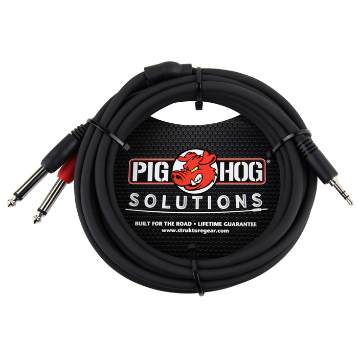 Pig Hog PB-S3410 Solutions 10ft Stereo Breakout Cable, 3.5mm to Dual 1/4 - Bananas at Large - 1