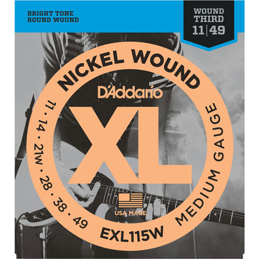 DAddario EXL115W Electric Nickel Wound Medium Blues-Jazz Rock Wound 3rd 11-49 - Bananas At Large®