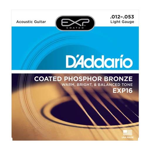 D'Addario EXP16 Coated Phosphor Bronze, Light, 12-53 - Bananas At Large®