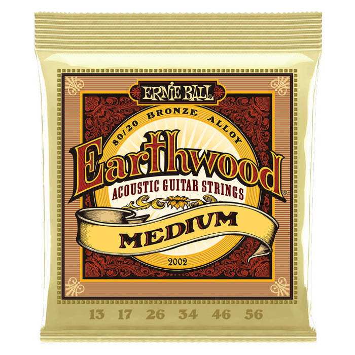 Ernie Ball Earthwood Medium 80/20 Bronze Acoustic Guitar Strings - 13-56 Gauge