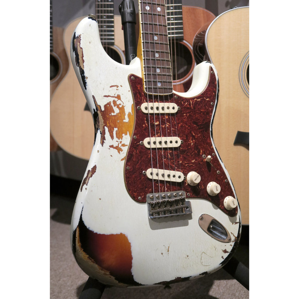 Fender Custom Shop LTD 60s Bound Neck Heavy Relic Strat Olympic White Over 3TSB - Bananas at Large - 4