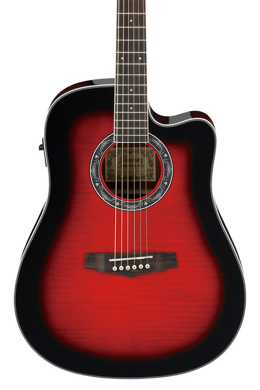Ibanez Cutaway Dreadnought Flamed Maple Acoustic Guitar - Transparent Red Sunburst High Gloss