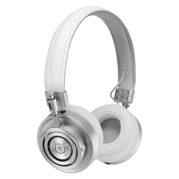 Master & Dynamic MH30 Foldable on Ear Headphones - Silver Metal and White Leather - Bananas at Large - 1
