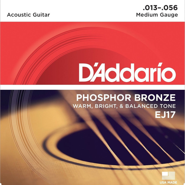 D'Addario EJ17 Phosphor Bronze Medium Acoustic Set Guages 13-5 - Bananas At Large®