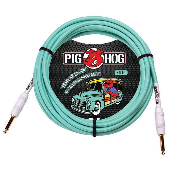 Pig Hog PCH20SG Vintage Series Instrument 20ft Cable - Seafoam Green - Bananas at Large