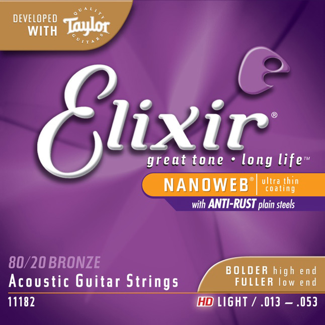 Elixir 11182 80/20 Bronze HD Light Acoustic Guitar Strings with Nanoweb Coating - Bananas At Large®
