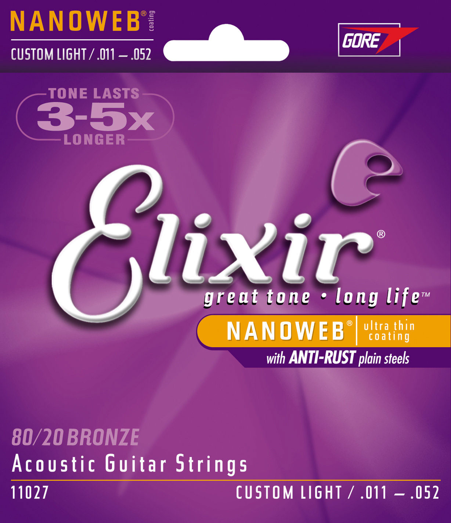 Elixir 11027 80/20 Bronze Custom Light Acoustic Guitar Strings with Nanoweb Coating 11-52 - Bananas at Large