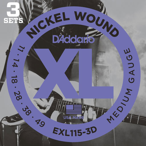 DAddario EXL115 3-Pack Nickel Wound Electric Guitar Medium Blues-Jazz Rock 11-49 - Bananas At Large®