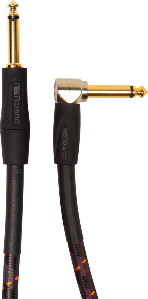 Roland RIC-G20A Gold Series 20ft Instrument Cable with Straight to Angle 1/4 in. Connectors - Bananas at Large