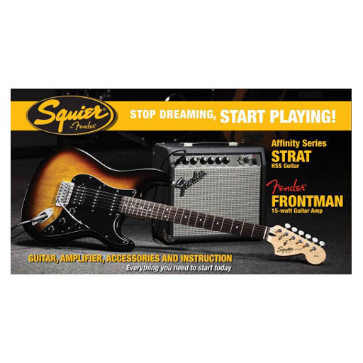 Squier Stop Dreaming, Start Playing! Set: Affinity Series Strat HSS with Fender Frontman 15G Amp, Brown Sunburst, 120V - Bananas at Large - 1