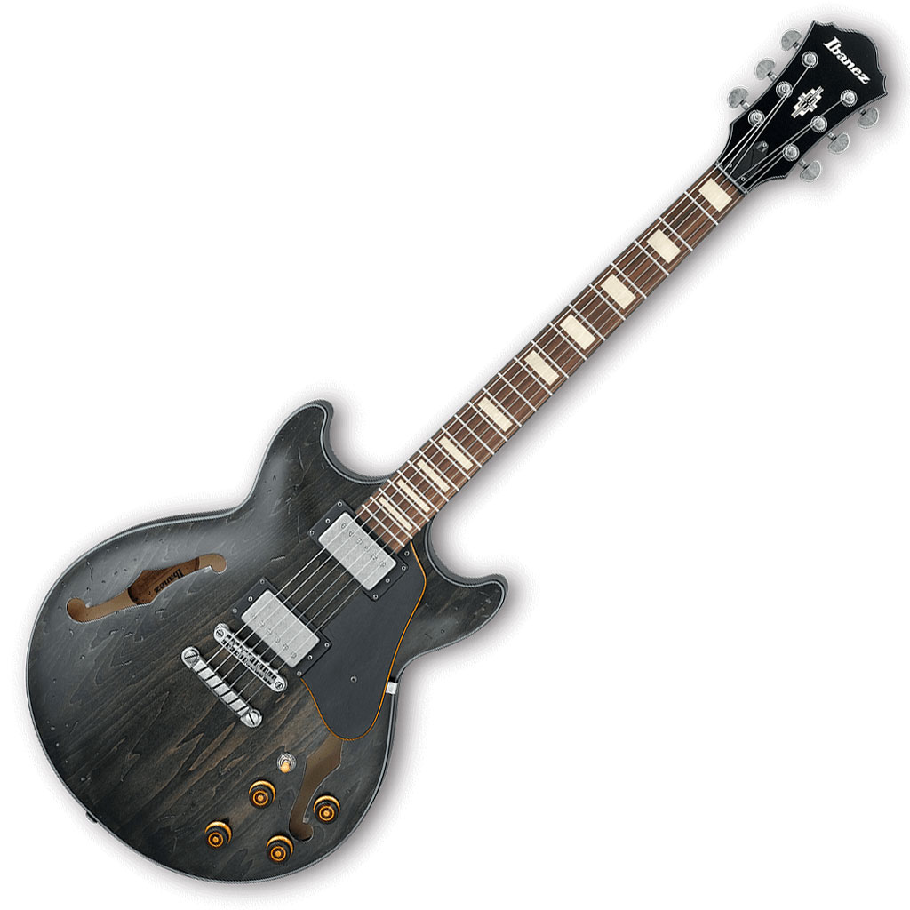 Ibanez AMV10A Artcore Vintage Series Semi-Hollow Body Electric Guitar - Transparent Black Low Gloss - Bananas At Large®