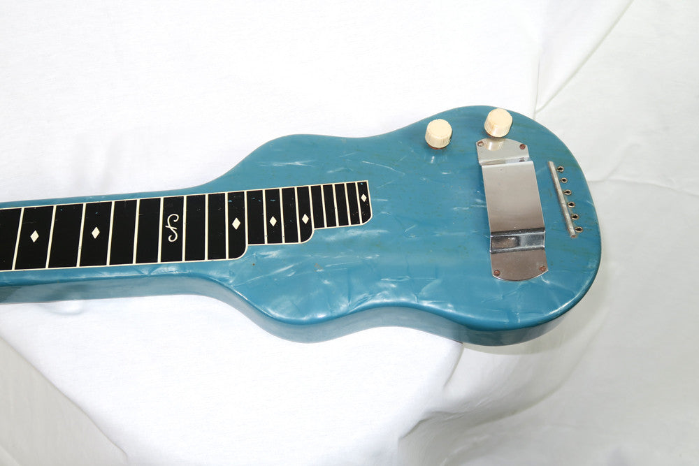 Magnatone Aloha 1950s Six String Lap Steel, Blue with Brown Case (Jeffrey Cohen) (Pre-Owned) - Bananas at Large - 2