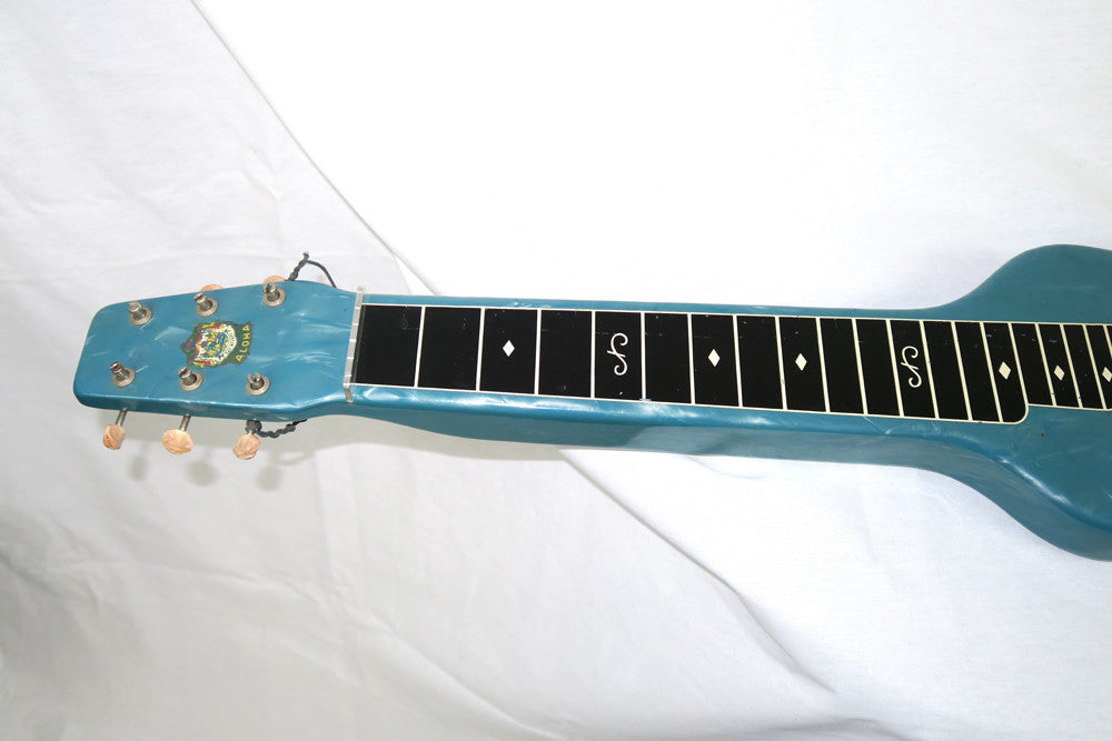 Magnatone Aloha 1950s Six String Lap Steel, Blue with Brown Case (Jeffrey Cohen) (Pre-Owned) - Bananas at Large - 3