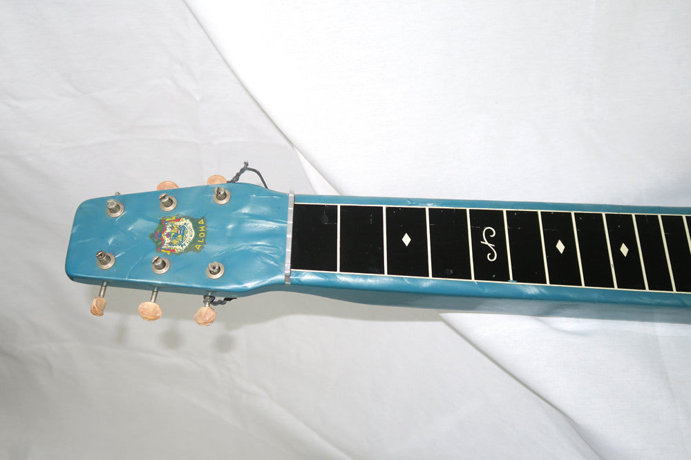 Magnatone Aloha 1950s Six String Lap Steel, Blue with Brown Case (Jeffrey Cohen) (Pre-Owned) - Bananas at Large - 4