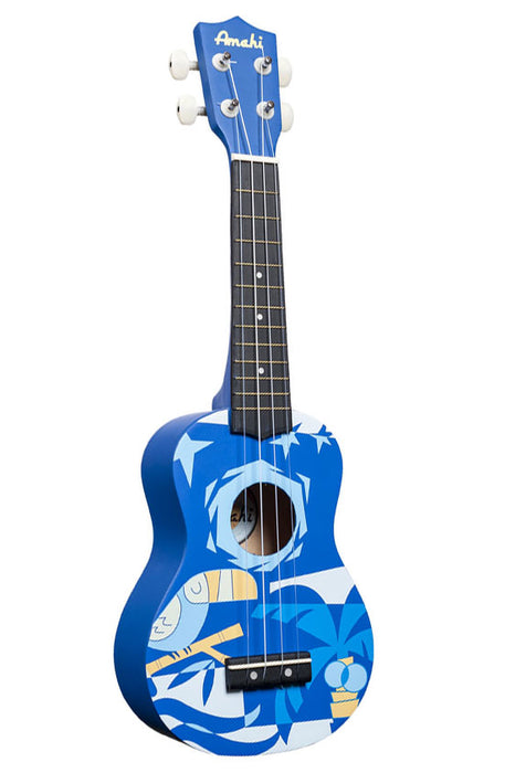 Amahi DDUK2 Soprano Ukulele with Blue Bird Design