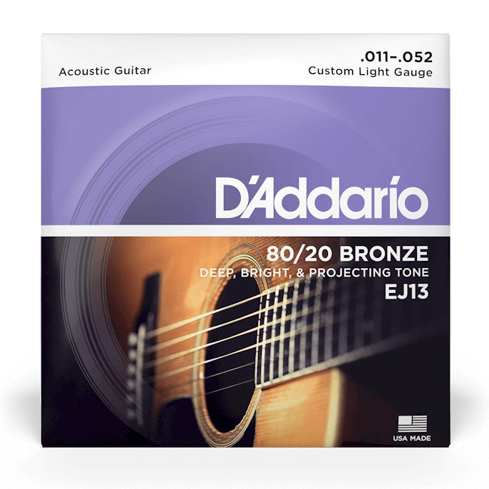 D'Addario EJ13-3D 80/20 Bronze Custom Light Gauge Acoustic Guitar Strings, 11-52 (3-Pack)