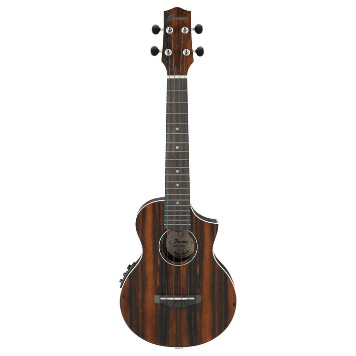 Ibanez UEW13MEE Acoustic Electric Concert Ukulele - Dark Brown Open