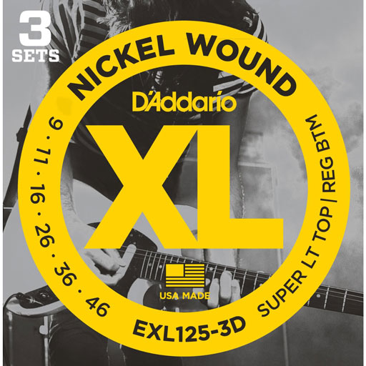 DAddario EXL125 Nickel Wound Electric Guitar Strings Super Light Top Regular Bottom 9-46 - Bananas At Large®
