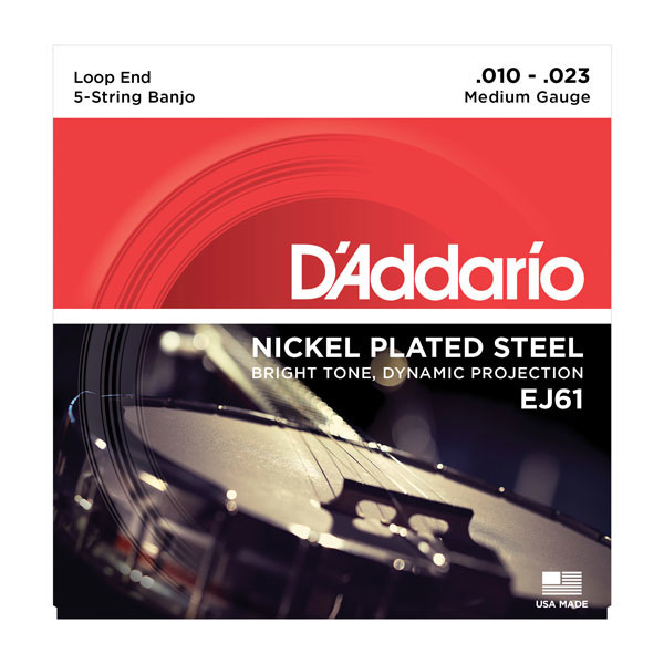 D'Addario EJ61 Nickel 5-String Medium Banjo Strings 10-23 - Bananas At Large®